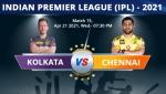 ಐಪಿಎಲ್ 2021: ಕೊಲ್ಕತ್ತಾ ನೈಟ್ ರೈಡರ್ಸ್ vs ಚೆನ್ನೈ ಸೂಪರ್ ಕಿಂಗ್ಸ್, ಪ್ಲೇಯಿಂಗ್ XI, ಅಪ್ಡೇಟ್ಸ್