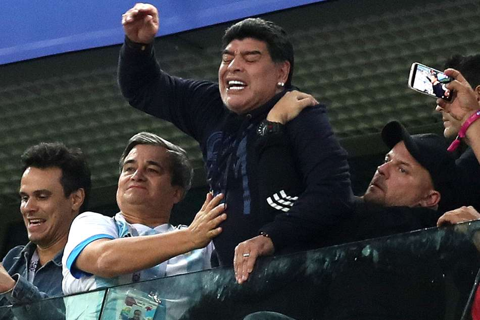 Maradona receives treatment after Argentinas dramatic win
