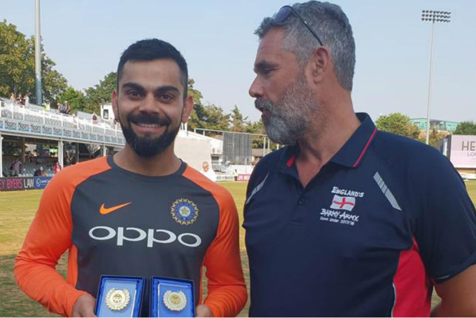 Virat Kohli presented with Player of the Year trophies by Barmy Army