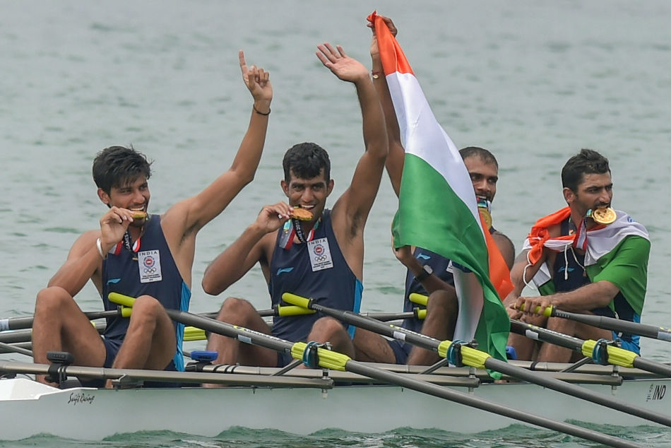 Asian Games 2018: Quadruple sculls rowing: Indian mens team wins gold medal.