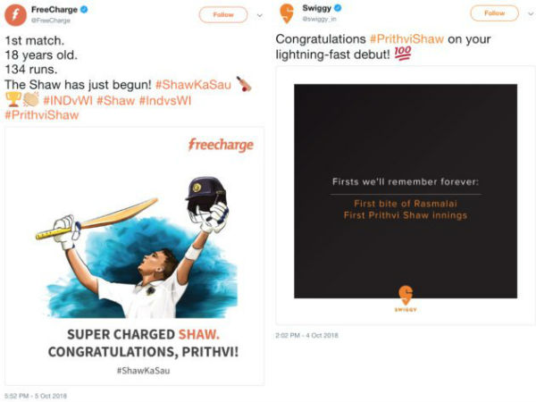 Prithvi Shaws management wants 1 crore from Freecharge and Swiggy.