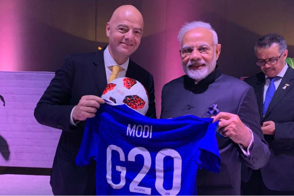 FIFA President Gianni infantino gifted Prime Minister Narendra Modi football jersey