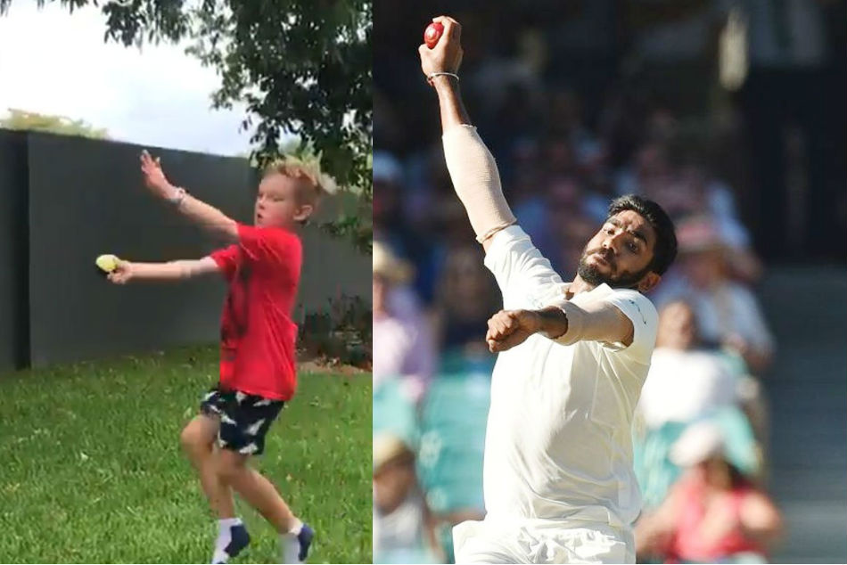 Jasprit Bumrah reacts after Australian kid copies his bowling action