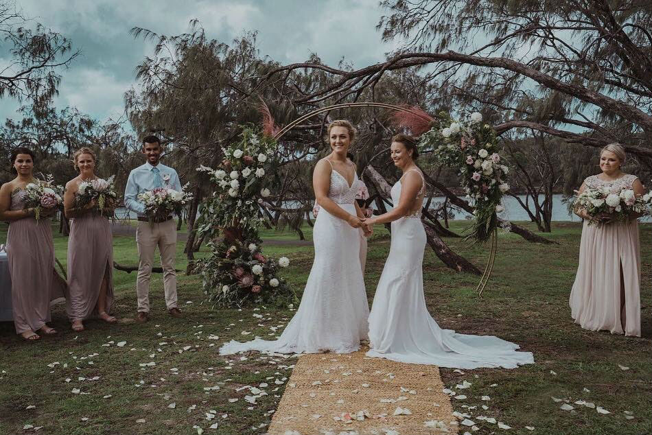Australia's Nicola Hancock and New Zealand's Hayley Jensen enter the wedlock