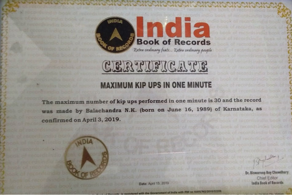 Balachandra registered in India Book Of Records fof Most front rolls