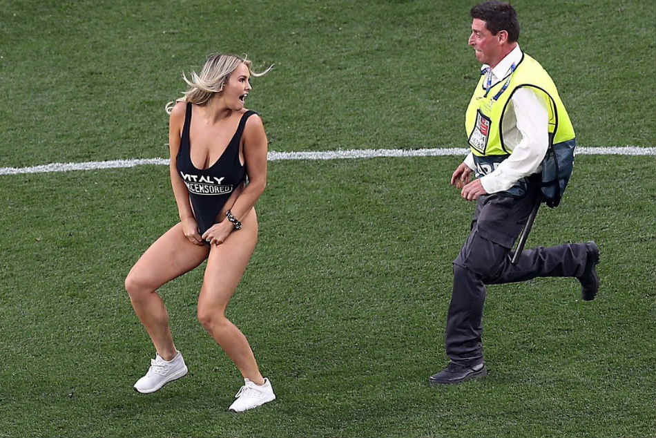 Champions League pitch invader Kinsey Wolanski fined by UEFA