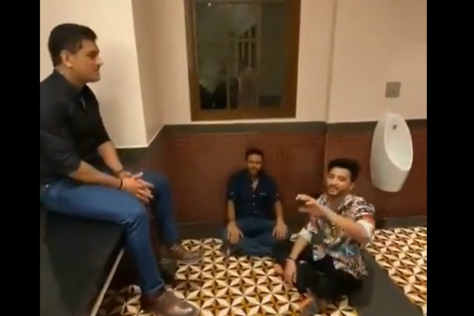 MS Dhoni Enjoys Bathroom Singing With Friends
