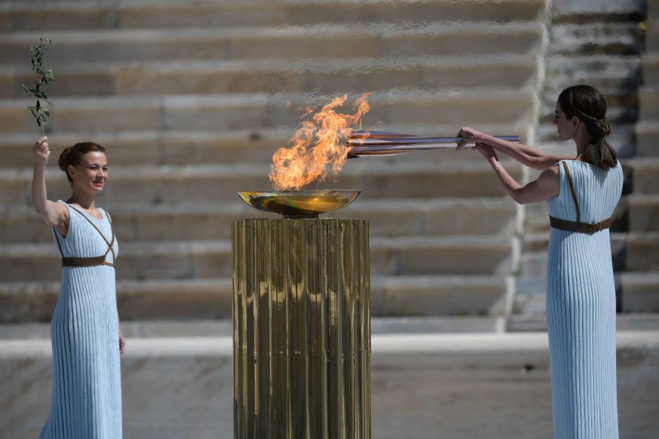 Olympic Flame Arrives In Japan Amid Virus Concerns