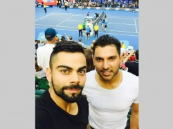 Virat Kohli Yuvraj Singh Watch Federer Djokovic Match At Australian Open