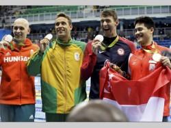Rio Olympics Celebration At Singapore Changi Airport Schooling Phelps