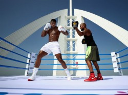 British Boxer Anthony Joshua Trains On The Burj Al Arab Helipad Dubai