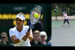 Seven Months Pregnant Sania Mirza Practising Tennis With Her Sister