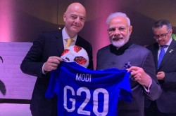 Fifa President Gianni Infantino Gifted Prime Minister Narendra Modi Football Jersey