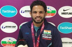 Amit Dhankar Settles For Silver Rahul Aware For Bronze In Asian Wrestling Championships