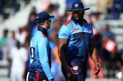 Global T20 Pollard Puts The Umpire S Hat On Rayad Emrit